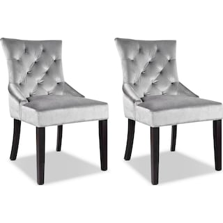 Annyalla Button-Tufted Accent Chairs - Grey (Set of 2)