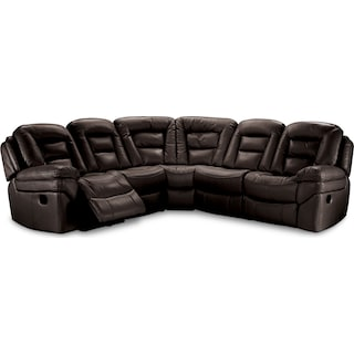 Leyburn 5-Piece Power Reclining Sectional – Walnut