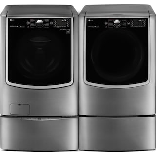 LG 4-Piece Gas Steam Washer and Dryer with Pedestal Washer and Drawer – Graphite Steel