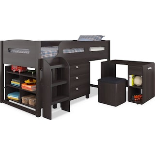 Castlecove Loft Bed with Roll-Out Desk – Espresso