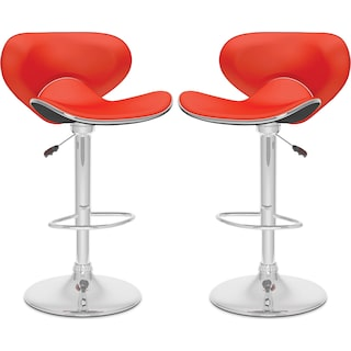 Winterton Curved Form-Fitting Adjustable Bar Stool, Set of 2 – Red