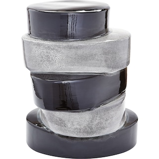 Stacked Ovals Side Table - Black and Grey