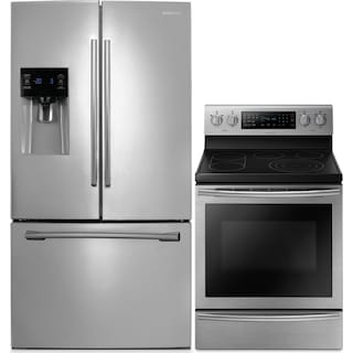 Samsung 26 Cu. Ft. French-Door Refrigerator and 5.9 Cu. Ft. Electric Range – Stainless Steel