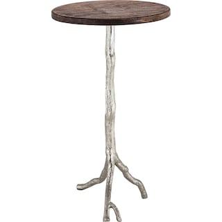 Restoration Wood and Nickel Side Table
