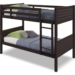 Poole Twin Bunk Bed with Panel Headboards – Dark Cappuccino