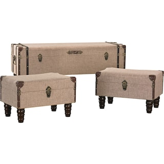 Linen Covered Travelers Trunk Set