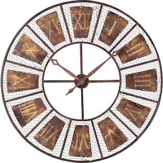 Metal Roman Numeral Outdoor Wall Clock - Curnished Copper