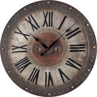 Metal Roman Numeral Outdoor Wall Clock- Grey/Copper