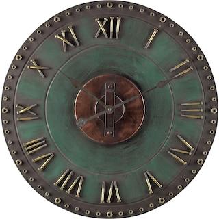 Metal Roman Numeral Outdoor Wall Clock - Green/Gold