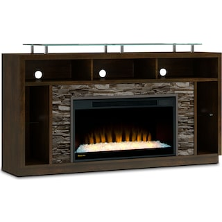 "Ferryhill 71"" TV Stand with Glass Ember Firebox – Bordeaux"