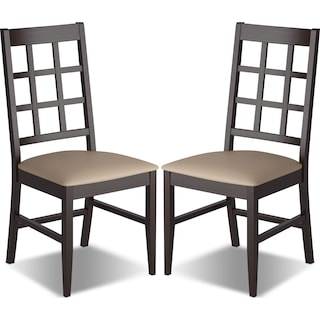 Breda Dining Chair with Faux Leather Seat, Set of 2 – Grey