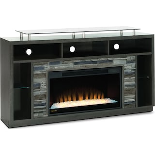 "Ferryhill 71"" TV Stand with Glass Ember Firebox – Anthracite"