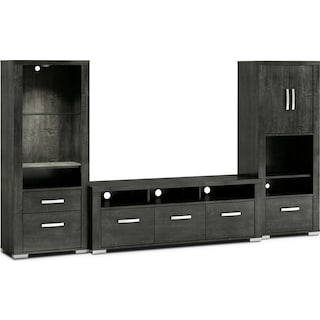 "Belfield 3-Piece Entertainment Centre with 64"" TV Opening, Open and Closed Piers – Anthracite"