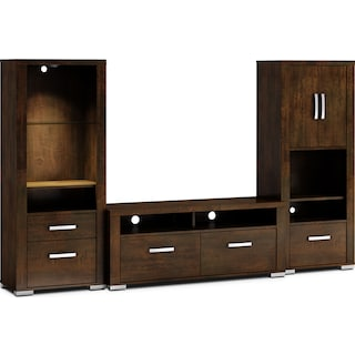 "Belfield 3-Piece Entertainment Centre with 56"" TV Opening, Open and Closed Piers – Java"