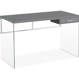 Syston Computer Desk – Glossy Grey