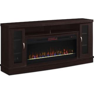 "Artane 70"" TV Stand with Glass Ember Firebox"