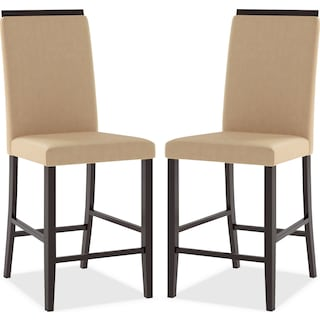 Watlington Counter-Height Dining Chair with Capped Backrest, Set of 2 – Desert Sand
