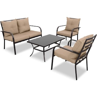 Skryne 4-Piece Patio Set – Brown