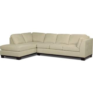 Carlow 2-Piece Microsuede Left-Facing Sectional with Sofa Bed – Mushroom