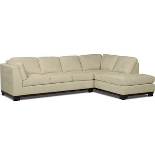 Carlow 2-Piece Microsuede Right-Facing Sectional with Sofa Bed – Mushroom