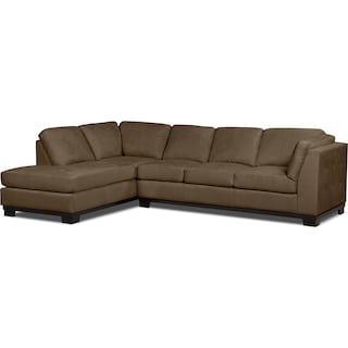 Carlow 2-Piece Microsuede Left-Facing Sectional with Sofa Bed – Cocoa