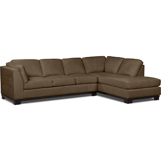Carlow 2-Piece Microsuede Right-Facing Sectional with Sofa Bed – Cocoa