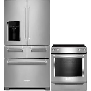 KitchenAid 25.8 Cu. Ft. 5-Door Refrigerator and 6.4 Cu. Ft. Electric Range – Stainless Steel
