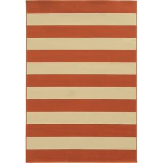 "Calypso 4768B Stripe Indoor/Outdoor Area Rug (7'10"" Round)"
