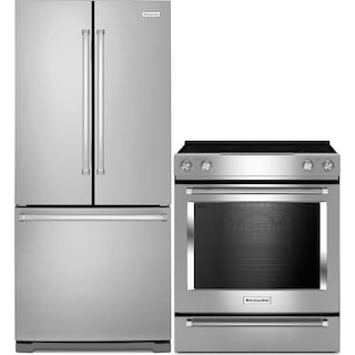 KitchenAid 19.7 Cu. Ft. French-Door Refrigerator and 6.4 Cu. Ft. Electric Range – Stainless Steel