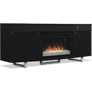 "Greta 72"" TV Stand with Glass Ember Firebox and Soundbar – Black"