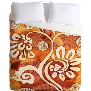 Design Warm Exotic Vines - Queen 3 Piece Duvet Cover Set by Gina Rivas
