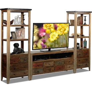 Avoca 3-Piece TV Wall Unit - Rustic Brown