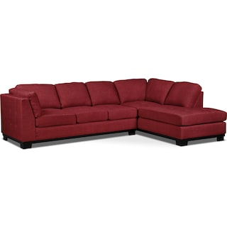 Carlow 2-Piece Right-Facing Sectional with Sofa Bed – Cherry