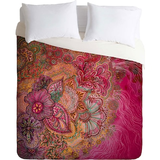 Flourish Berry - Queen 3 Piece Duvet Cover Set by Stephanie Corfee