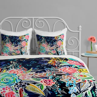 Night Bloomers - Queen 3 Piece Duvet Cover Set by Stephanie Corfee