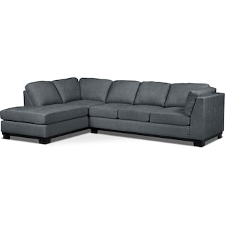 Carlow 2-Piece Left-Facing Sectional with Sofa Bed – Steel