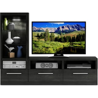 Lincoln 2-Piece TV Wall Unit - Charcoal Grey