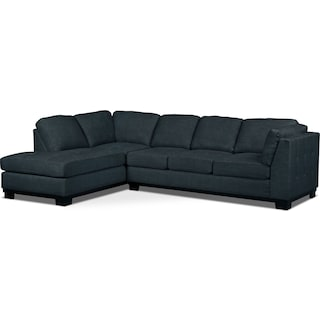 Carlow 2-Piece Left-Facing Sectional with Sofa Bed – Denim