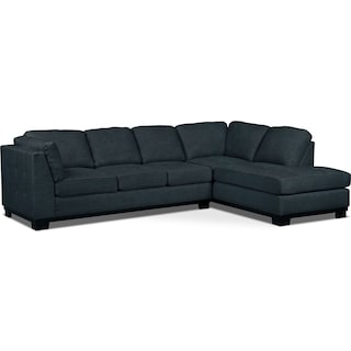 Carlow 2-Piece Right-Facing Sectional with Sofa Bed – Denim