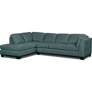 Carlow 2-Piece Microsuede Left-Facing Sectional with Sofa Bed – Azure