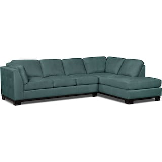 Carlow 2-Piece Microsuede Right-Facing Sectional with Sofa Bed – Azure