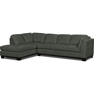 Carlow 2-Piece Microsuede Left-Facing Sectional with Sofa Bed – Grey