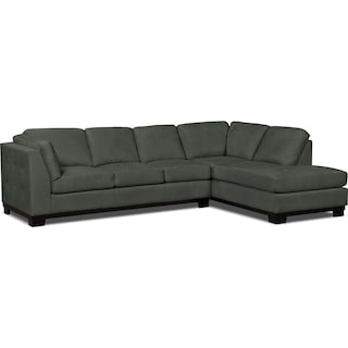 Carlow 2-Piece Microsuede Right-Facing Sectional with Sofa Bed – Grey