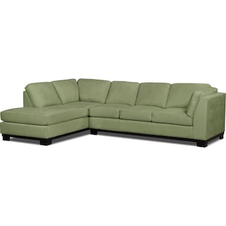 Carlow 2-Piece Microsuede Left-Facing Sectional with Sofa Bed – Pear