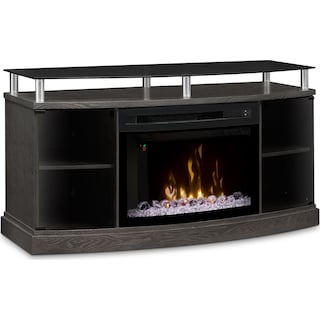 "Wilton 53"" TV Stand with Multi-Fire XD™ Glass Ember Firebox – Silver"
