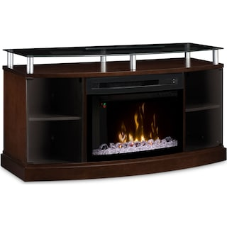 "Wilton 53"" TV Stand with Multi-Fire XD™ Glass Ember Firebox – Mocha"