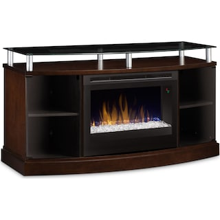 "Wilton 53"" TV Stand with Glass Ember Firebox – Mocha"