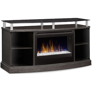 "Wilton 53"" TV Stand with Glass Ember Firebox – Silver"