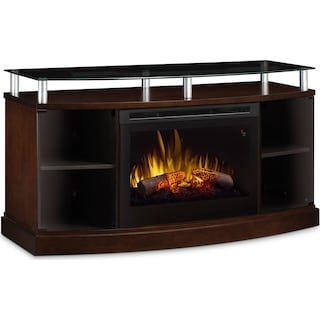 "Wilton 53"" TV Stand with Log Firebox – Mocha"