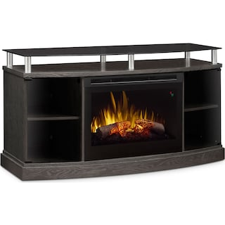 "Wilton 53"" TV Stand with Log Firebox – Silver"